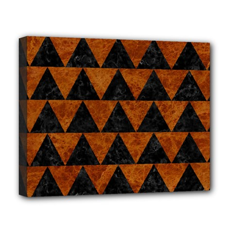 Triangle2 Black Marble & Brown Marble Deluxe Canvas 20  X 16  (stretched) by trendistuff