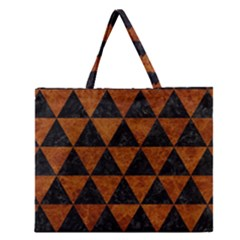 Triangle3 Black Marble & Brown Marble Zipper Large Tote Bag by trendistuff