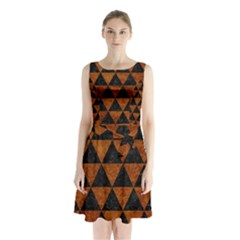 Triangle3 Black Marble & Brown Marble Sleeveless Waist Tie Chiffon Dress