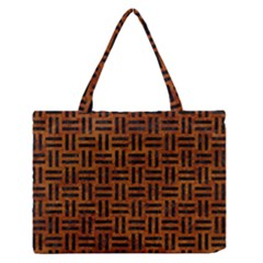 Woven1 Black Marble & Brown Marble (r) Medium Zipper Tote Bag by trendistuff