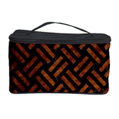 Woven2 Black Marble & Brown Marble Cosmetic Storage Case by trendistuff