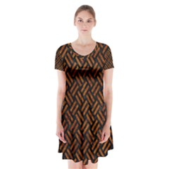Woven2 Black Marble & Brown Marble Short Sleeve V Neck Flare Dress by trendistuff
