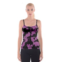 Pink Camouflage Spaghetti Strap Tops