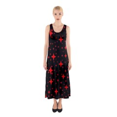 Bright Red Stars In Space Sleeveless Maxi Dress by Costasonlineshop