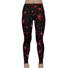 Bright Red Stars In Space Classic Yoga Leggings by Costasonlineshop