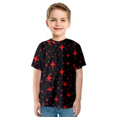 Bright Red Stars In Space Kids  Sport Mesh Tee by Costasonlineshop