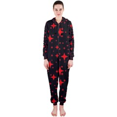 Bright Red Stars In Space Hooded Jumpsuit (ladies)  by Costasonlineshop