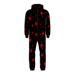 Bright Red Stars In Space Hooded Jumpsuit (kids) by Costasonlineshop