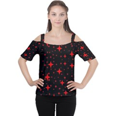 Bright Red Stars In Space Women s Cutout Shoulder Tee by Costasonlineshop