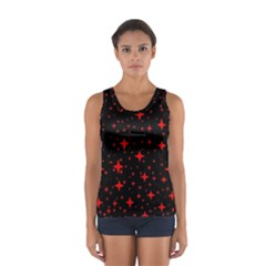 Bright Red Stars In Space Women s Sport Tank Top  by Costasonlineshop