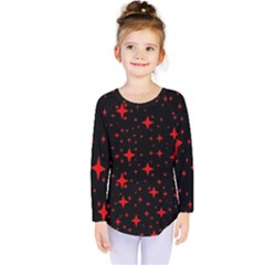 Bright Red Stars In Space Kids  Long Sleeve Tee by Costasonlineshop