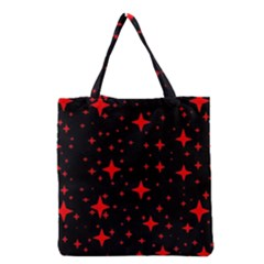 Bright Red Stars In Space Grocery Tote Bag by Costasonlineshop