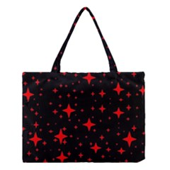 Bright Red Stars In Space Medium Tote Bag by Costasonlineshop