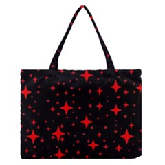 Bright Red Stars In Space Medium Zipper Tote Bag by Costasonlineshop