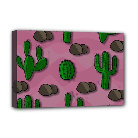 Cactuses 2 Deluxe Canvas 18  X 12   by Valentinaart