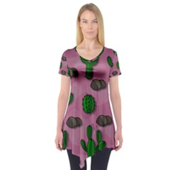 Cactuses 2 Short Sleeve Tunic  by Valentinaart