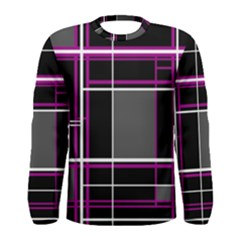 Simple Magenta Lines Men s Long Sleeve Tee by Valentinaart