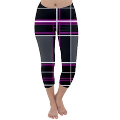 Simple Magenta Lines Capri Winter Leggings
