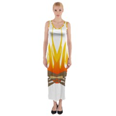 Fire Fitted Maxi Dress by AnjaniArt