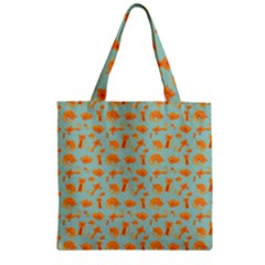 Cute Cat Animals Orange Zipper Grocery Tote Bag by AnjaniArt