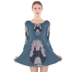 Man And Black Cat Long Sleeve Velvet Skater Dress