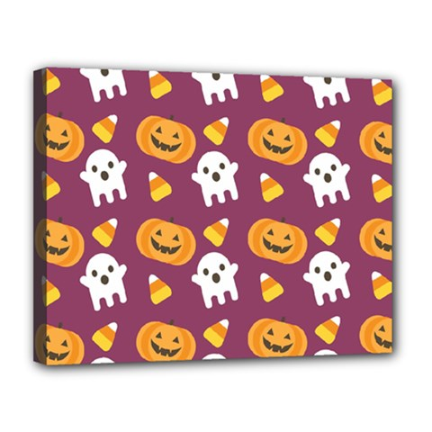 Pumpkin Ghost Canddy Helloween Canvas 14  X 11