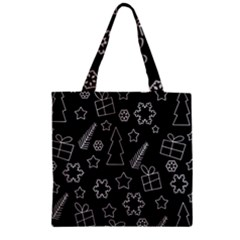 Simple Xmas Pattern Zipper Grocery Tote Bag by Valentinaart