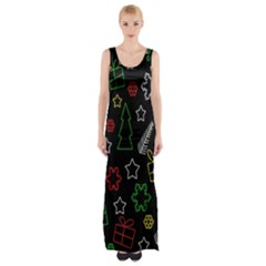 Colorful Xmas Pattern Maxi Thigh Split Dress by Valentinaart