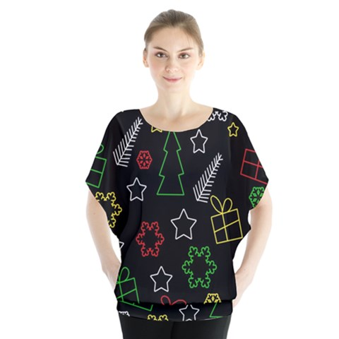 Colorful Xmas Pattern Blouse by Valentinaart
