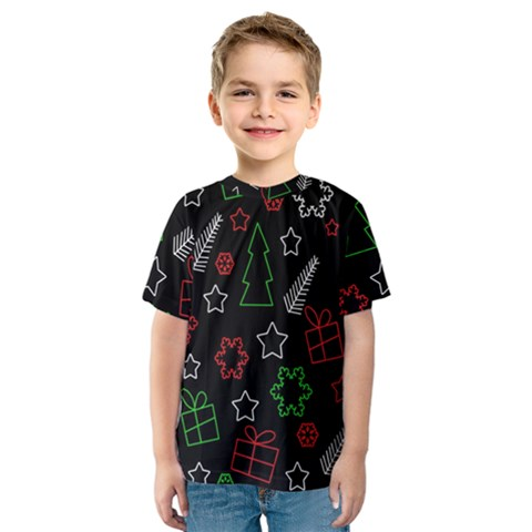 Green And  Red Xmas Pattern Kids  Sport Mesh Tee by Valentinaart