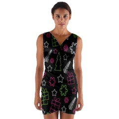 Elegant Xmas Pattern Wrap Front Bodycon Dress by Valentinaart
