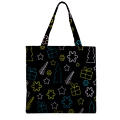 Xmas Pattern   Blue And Yellow Zipper Grocery Tote Bag by Valentinaart