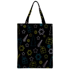 Xmas Pattern   Blue And Yellow Zipper Classic Tote Bag by Valentinaart