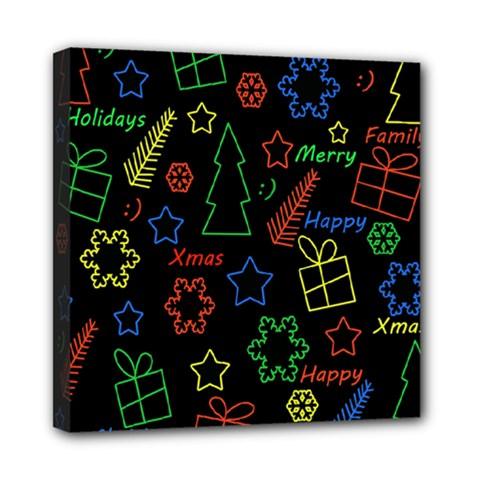 Playful Xmas Pattern Mini Canvas 8  X 8  by Valentinaart
