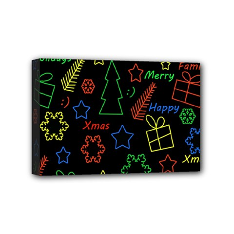 Playful Xmas Pattern Mini Canvas 6  X 4  by Valentinaart