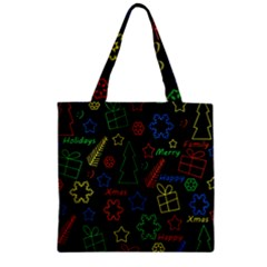 Playful Xmas Pattern Zipper Grocery Tote Bag