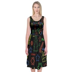 Playful Xmas Pattern Midi Sleeveless Dress by Valentinaart