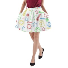Simple Christmas Pattern A Line Pocket Skirt by Valentinaart
