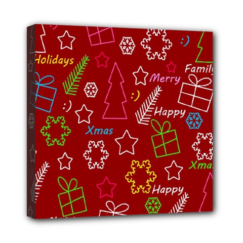 Red Xmas Pattern Mini Canvas 8  X 8  by Valentinaart