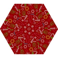 Red Xmas Pattern Mini Folding Umbrellas