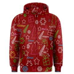 Red Xmas Pattern Men s Zipper Hoodie