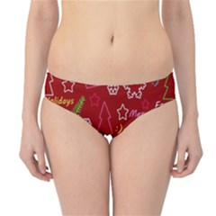 Red Xmas Pattern Hipster Bikini Bottoms