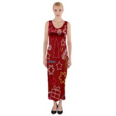 Red Xmas Pattern Fitted Maxi Dress by Valentinaart