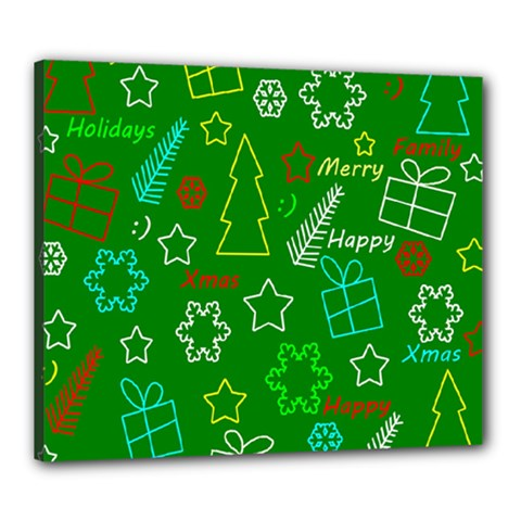 Green Xmas Pattern Canvas 24  X 20  by Valentinaart