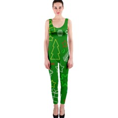 Green Xmas Pattern Onepiece Catsuit by Valentinaart