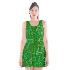 Green Xmas Pattern Scoop Neck Skater Dress by Valentinaart