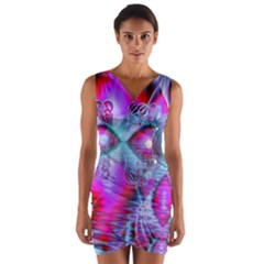Crystal Northern Lights Palace, Abstract Ice  Wrap Front Bodycon Dress