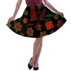 Red And Green Xmas Pattern A-line Skater Skirt by Valentinaart