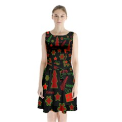 Red And Green Xmas Pattern Sleeveless Chiffon Waist Tie Dress by Valentinaart