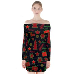 Red And Green Xmas Pattern Long Sleeve Off Shoulder Dress